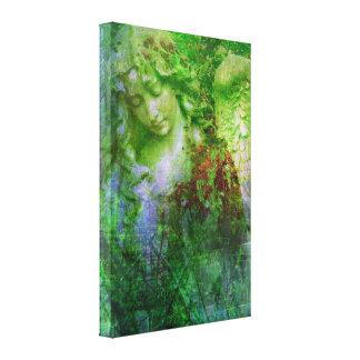 Green Angel Statue Fairy Garden Canvas Print