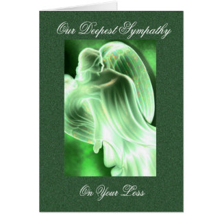 Green Angel Sympathy Card