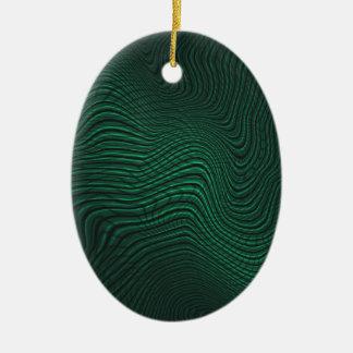 Green animal print ceramic ornament