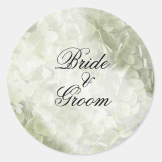 Green Annabelle Hydrangea Wedding Envelope Seals Round Sticker