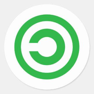 Green Anti-Copyright Copyleft Public Domain Symbol Round Stickers