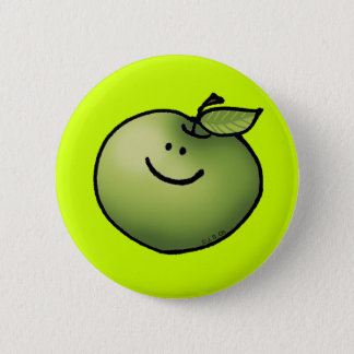 Green apple 6 cm round badge