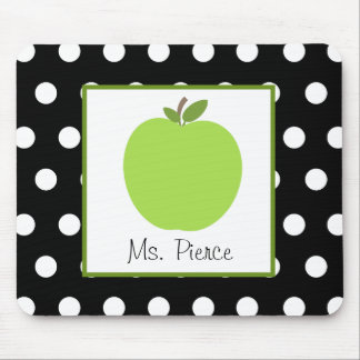 Green Apple Black With White Polka Dots Mousepads