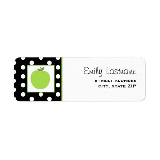 Green Apple / Black With White Polka Dots Return Address Label