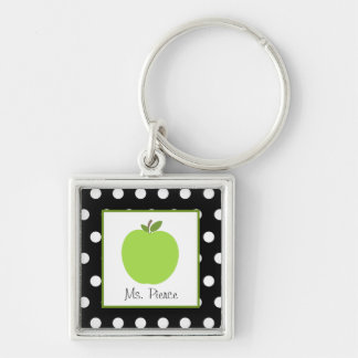 Green Apple / Black With White Polka Dots Silver-Colored Square Key Ring