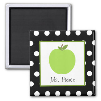 Green Apple / Black With White Polka Dots Square Magnet