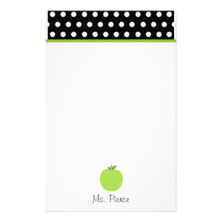 Green Apple / Black With White Polka Dots Stationery