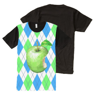 Green Apple - Blue & Green Background All-Over Print T-Shirt