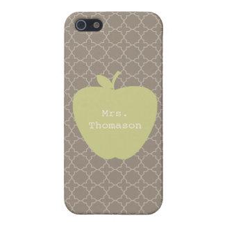 Green Apple Brown Quatrefoil Teacher Case For iPhone 5