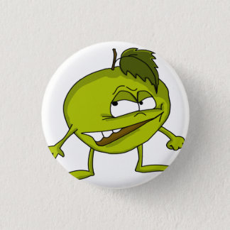 Green apple cartoon character with a vicious smile 3 cm round badge