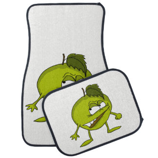 Green apple cartoon character with a vicious smile car mat