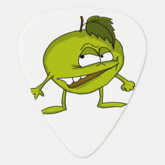 Green apple cartoon character with a vicious smile guitar pick