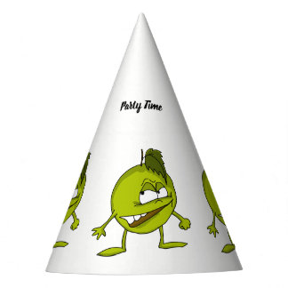 Green apple cartoon character with a vicious smile party hat