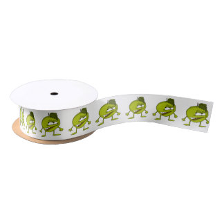 Green apple cartoon character with a vicious smile satin ribbon