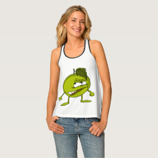 Green apple cartoon character with a vicious smile singlet