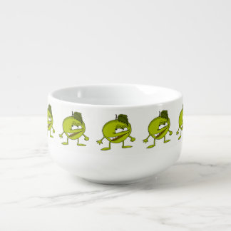 Green apple cartoon character with a vicious smile soup mug