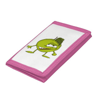 Green apple cartoon character with a vicious smile trifold wallet