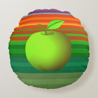 Green Apple Colorful Stripes Purple Nature Bold Round Cushion