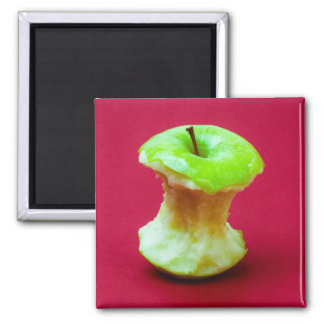 Green apple core square magnet