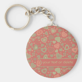 Green Apple Delight - tiny hearts with banner Basic Round Button Key Ring