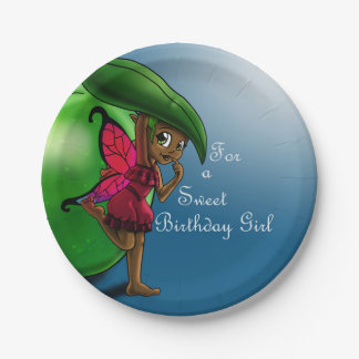 Green Apple Fairy Birthday Paper Plates 7 Inch Paper Plate
