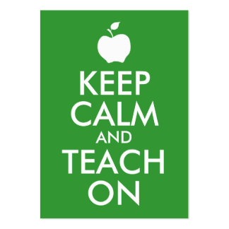 Green Apple Keep Calm and Teach On Pack Of Chubby Business Cards