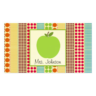 Green Apple Multicolor Polka Dots Teacher Double-Sided Standard Business Cards (Pack Of 100)