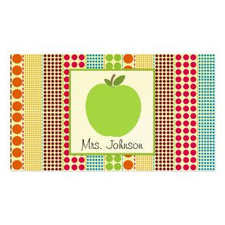Green Apple Multicolor Polka Dots Teacher Business Card Template