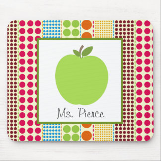 Green Apple / Multicolored Polka Dots Teacher Mouse Pad