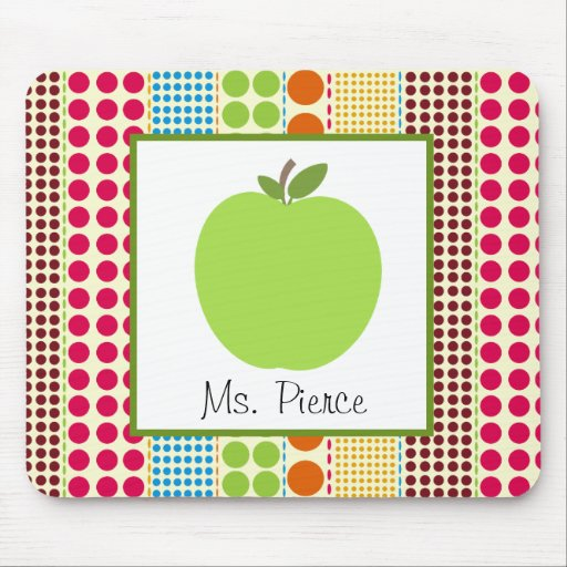 Green Apple / Multicolored Polka Dots Teacher Mouse Pads