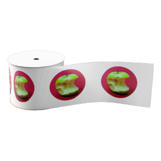 Green apple on red background grosgrain ribbon