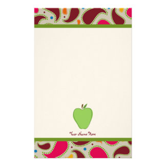 Green Apple & Paisley Personalized Teacher Personalized Stationery