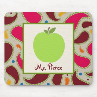 Green Apple Paisley Teacher Mousepads