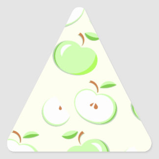 Green Apple Pattern, sliced and whole apples Triangle Sticker