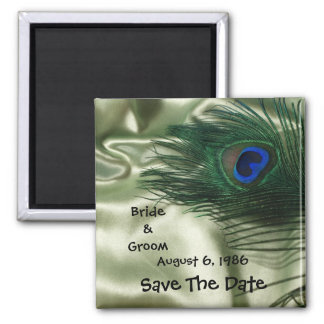 Green Apple Peacock Sill Life Save the Date Square Magnet