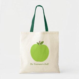 Green Apple Personalised Teacher Canvas Bag
