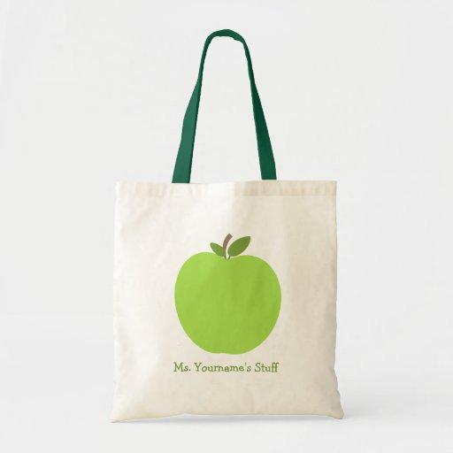 Green Apple Personalized Teacher Canvas Bag