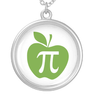 Green Apple Pi Silver Plated Necklace
