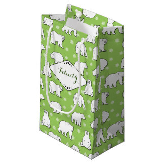 Green Apple Polar Bears and Snowflakes Monogrammed Small Gift Bag