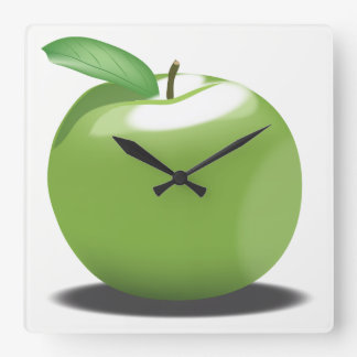 Green Apple Square Wall Clock