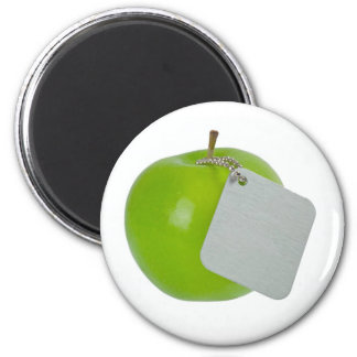 Green apple with metal tag magnet