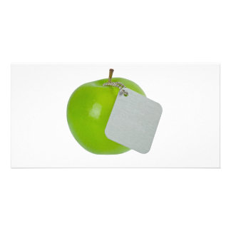 Green apple with metal tag custom photo card