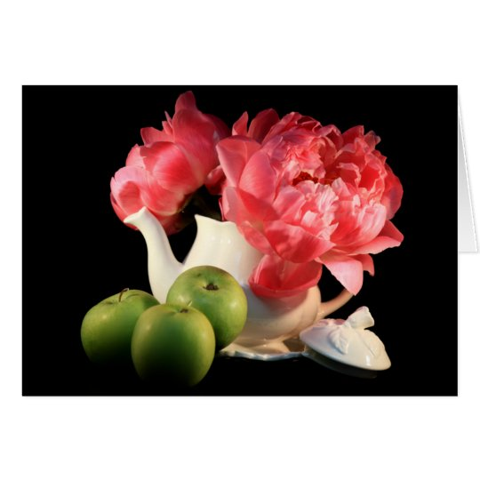 Green Apples And Peonies Greeting Cards
