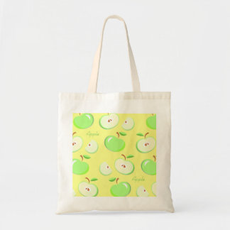 Green apple's yellow background, shopping tote bag