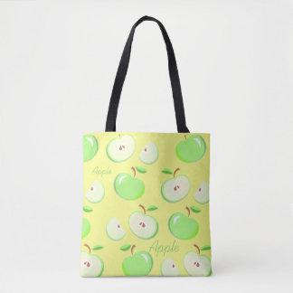 Green apple's yellow background, summer tote bag