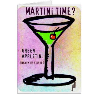 GREEN APPLETINI MARTINI TIME PASTEL PRINT by jill Greeting Card