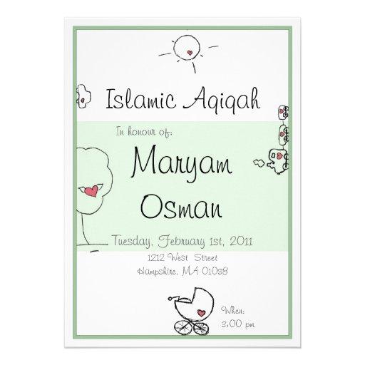 Green Aqiqah invitation with cute cartoon drawing 13 Cm X ...