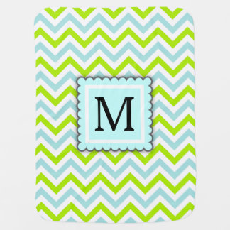 Green & Aqua Blue Chevron Custom Monogram Baby Blanket