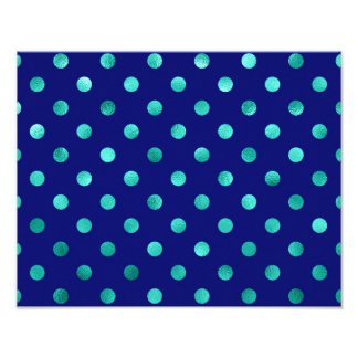 Green Aqua Turquoise Metallic Faux Foil Polka Dots Photo Print