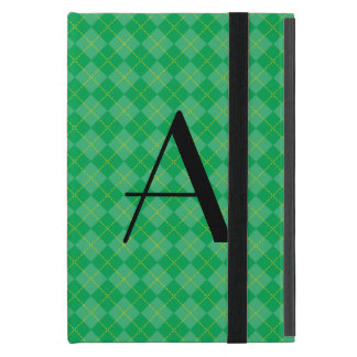 Green argyle monogram cover for iPad mini